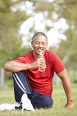 Senior Man Relaxing After Exercise — Stock Photo
