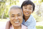 Grandfather With Grandson In Park — Stock Photo