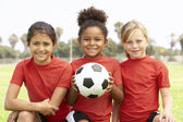 Young Girls In Football Team — Stock Photo