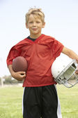 Young Boy Playing American Football — Stock Photo