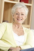 Porträtt av äldre kvinna hemma — Stockfoto