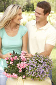 Young Couple Gardening — Stock Photo