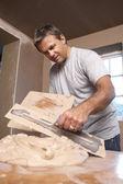Plasterer Mixing Plaster — Stock Photo