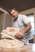 Plasterer Mixing Plaster — Stock Photo
