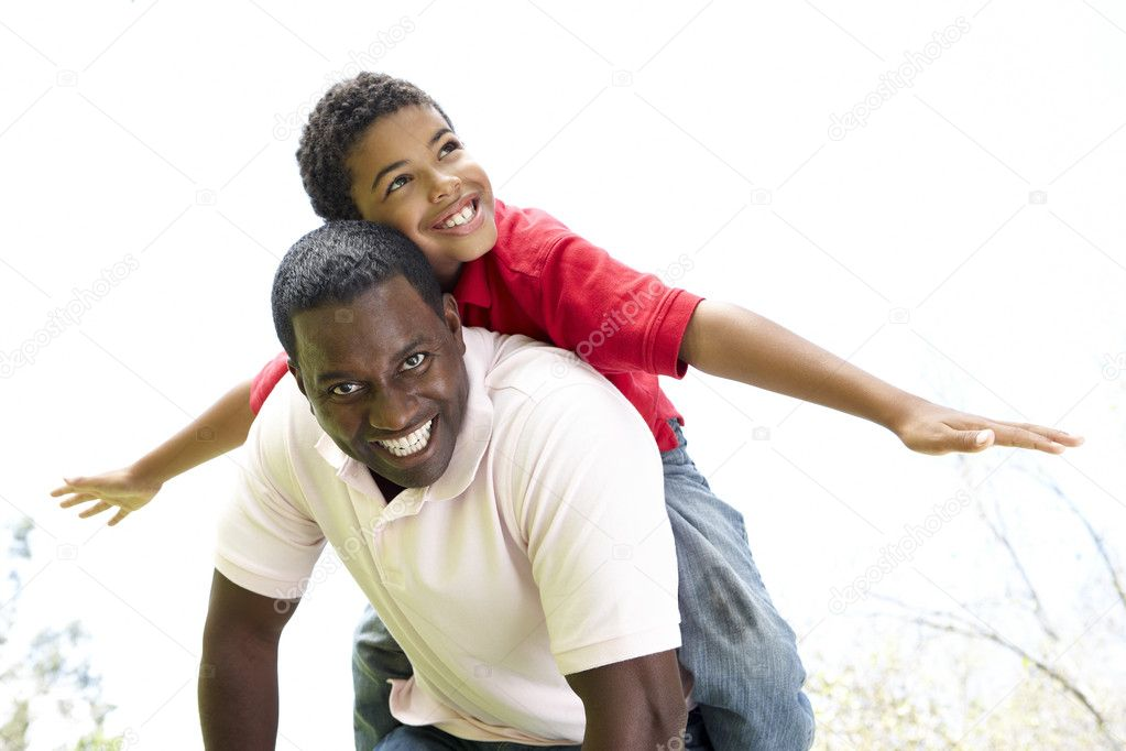 Portrait of Happy Father and Son In Park  Stock Photo #4822576