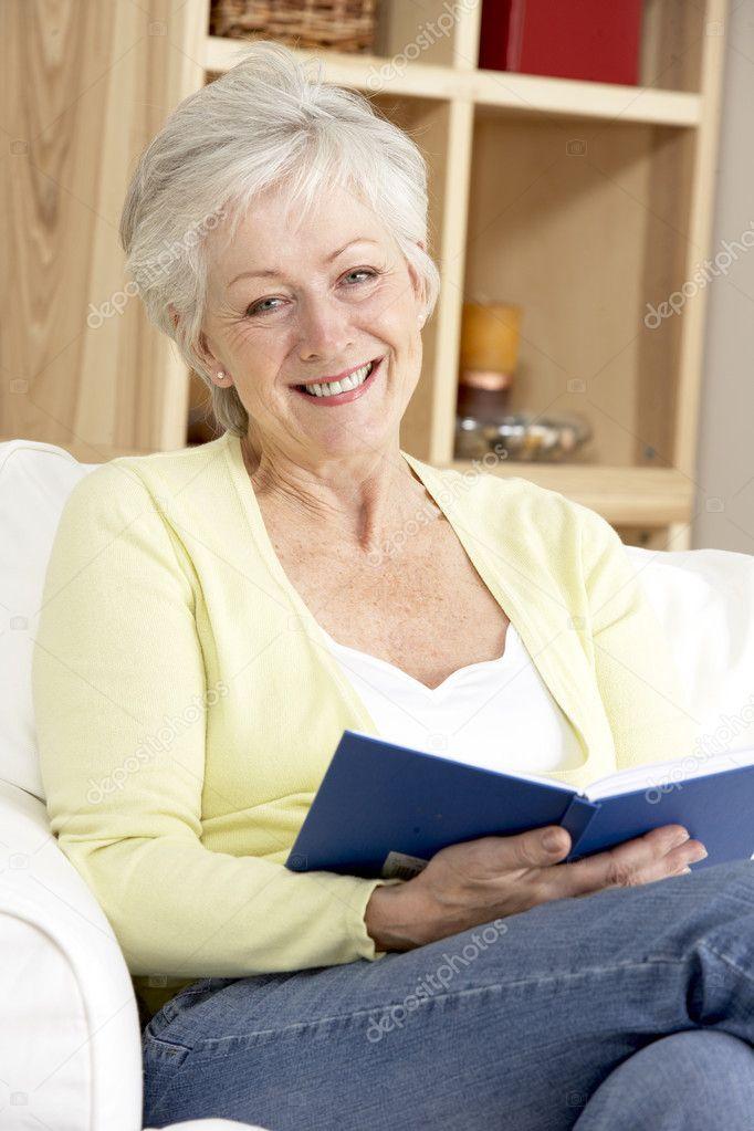 Woman Reading Book Senior Woman Reading Book at