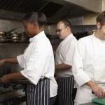 Team Of Chefs Preparing Food In Restaurant Kitchen — Stock Photo #4835935
