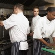 Team Of Chefs Preparing Food In Restaurant Kitchen — Photo