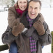 Senior Couple Standing Outside In Snowy Landscape - 图库照片