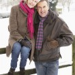 Senior Couple Standing Outside In Snowy Landscape — ストック写真