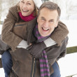 Senior Couple Standing Outside In Snowy Landscape — Stock Photo #4836082