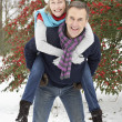 Senior Couple Outside In Snowy Landscape - Foto Stock