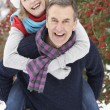 Senior Couple Outside In Snowy Landscape - Lizenzfreies Foto