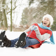 Foto Stock: Senior WomSledging Through Snowy Woodland