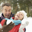 Senior Couple Having Snowball Fight In Snowy Woodland — Stockfoto