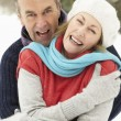 Senior Couple Standing Outside In Snowy Landscape — Stock Photo #4836125