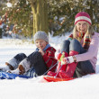 Mother Riding On SledgesThrough Snowy Landscape — Stock Photo