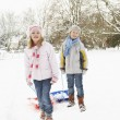 Children Pulling Sledge Through Snowy Landscape — Stock Photo