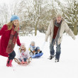 Foto Stock: Family Pulling Sledge Through Snowy Landscape
