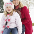 Mother And Daughter Standing Outside In Snowy Landscape - 图库照片