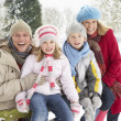 Family Sitting In Snowy Landscape - Stock fotografie