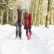 Couple Walking Through Snowy Woodland - Foto Stock