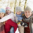 Family Having Fun Snowy Woodland — Stock Photo