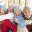 Family Having Fun Snowy Woodland - Foto Stock