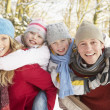 Family Having Fun Snowy Woodland - Stock Photo