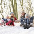 Foto Stock: Family Sledging Through Snowy Woodland