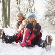 Couple Sledging Through Snowy Woodland - 图库照片