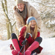 Couple Sledging Through Snowy Woodland — Stockfoto