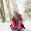 Foto Stock: WomSledging Through Snowy Woodland