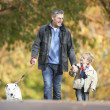 Man With Young Son Walking Dog Through Autumn Park - Stock Photo
