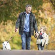 Man With Young Son Walking Dog Through Autumn Park - Foto de Stock  