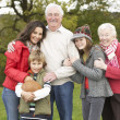 Grandparents With Grandchildren And Mother  Holding Football Out - Stock Photo
