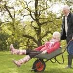 Senior Couple Man Giving Woman Ride In Wheelbarrow — Stock Photo