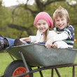 Boy And Girl Sitting In Wheelbarrow - Stock Photo