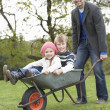 Father Giving Children Ride In Wheelbarrow - Stock Photo