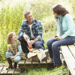Stock Photo: Parents And Children Having Picnic In Countryside