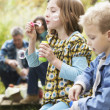Two Young Children Blowing Bubbles On Countryside Picnic - Stock Photo