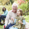 Grandfather And Granddaughter Blowing Bubbles On Family Picnic — Stock Photo #4836350