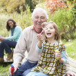 Grandfather And Granddaughter Blowing Bubbles On Family Picnic — Stock Photo
