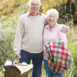 Senior Couple Outdoors With Picnic Basket By Autumn Woodland - Stock Photo