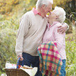 Romantic Senior Couple Outdoors With Picnic Basket By Autumn Woo — Stock Photo