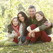 Family Group Relaxing Outdoors In Autumn Landscape — Stock Photo #4836411