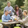 Foto de Stock  : Group Of Friends Outdoors Enjoying Drink In Pub Garden
