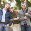 Group Of Friends On Walk In Autumn Park Together — Stock Photo