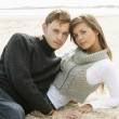 Portrait Of Young Couple On Beach — 图库照片