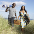Young Couple Carrying Picnic Basket And Windbreak Walking Throug - Stock Photo